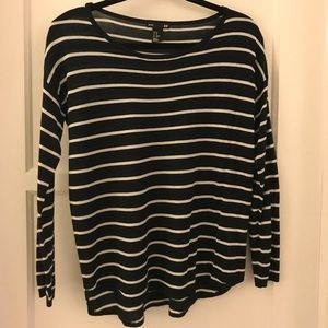 H&M light sweater navy blue and white stripes xs